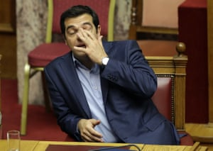 Alexis Tsipras<br>Greece's Prime Minister Alexis Tsipras reacts during an emergency parliament session in Athens, Thursday, July 23, 2015. Greek lawmakers held a whirlwind debate into the early hours Thursday on further reforms demanded by international creditors in return for a third multi-billion-euro bailout, with attention focusing on government rebels who oppose the measures. (AP Photo/Thanassis Stavrakis)
