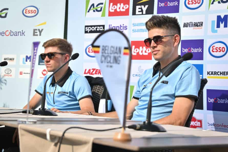 Remco Evenepoel (left) and Wout van Aert at a Belgium press conference in Flanders.