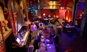 Colourful, interior shot of Oasis, a cabaret and club space in San Francisco, California, US
