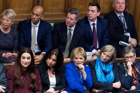 The Independent Group in Parliament, 20 February: bottom row, left to right: Luciana Berger, Heidi Allen, Anna Soubry, Sarah Wollaston, Ann Coffey; top row, left to right: Angela Smith, Chuka Umunna, Chris Leslie, and Gavin Shuker.