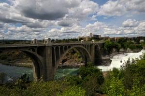 A view of the Monroe Street Bridge in Spokane, Washington