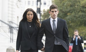 Ched Evans leaves Cardiff crown court with his partner Natasha Massey after being found not guilty last week of rape