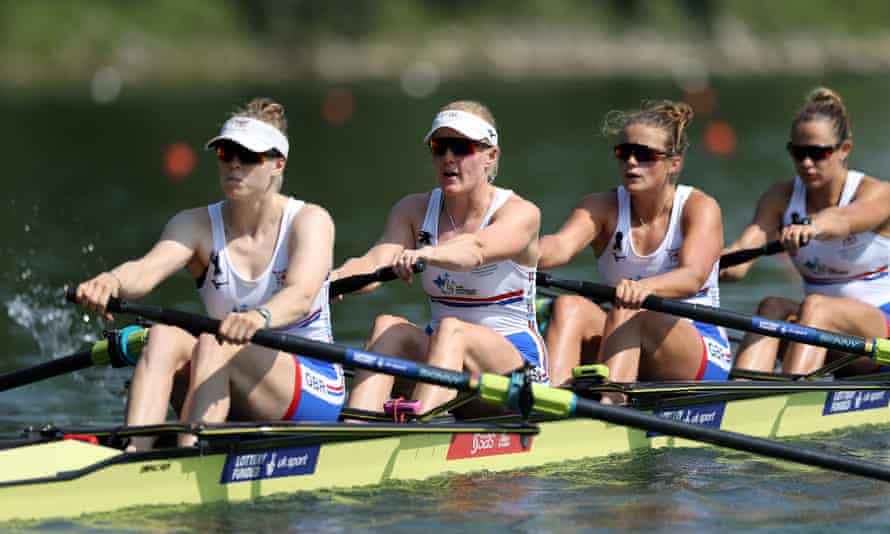 Holly Hill, Polly Swann, Emily Ford and Sara Parfett of Great Britain in action during Day One of the 2019 World Rowing Championships.