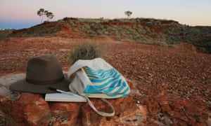Monica's hat and bag in the outback