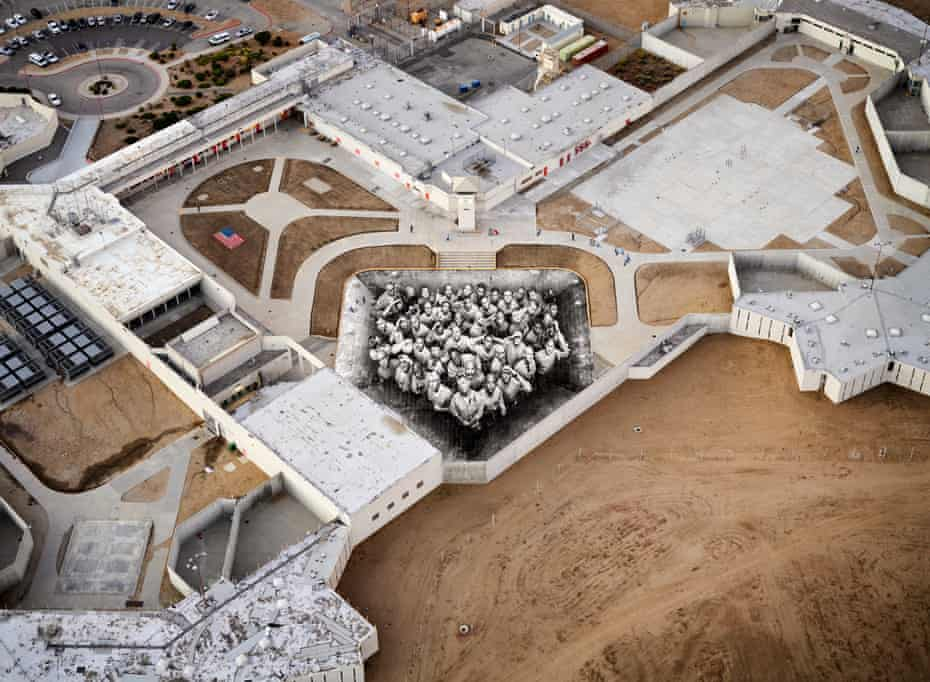Prisoners on the roof … aerial view of Tehachapi, The Yard, installed at a California jail.