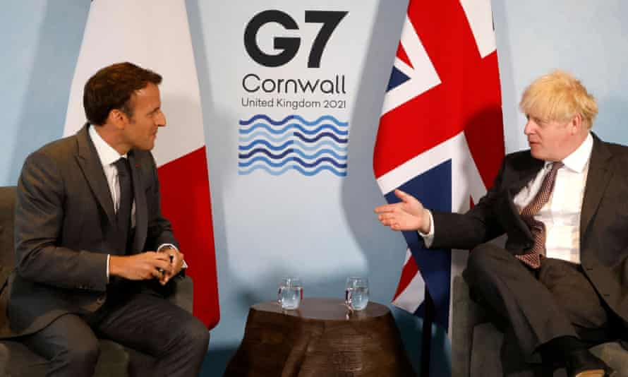 Johnson and Macron take part in a bilateral meeting during the G7 summit in Carbis Bay, Cornwall.