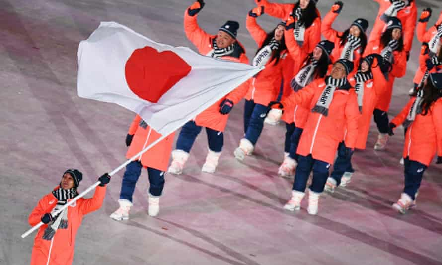 The Japanese team during the Winter Olympics opening ceremony