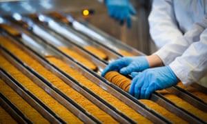 factory worker at biscuit conveyor belt