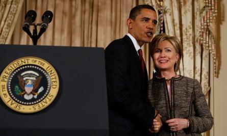 Barack Obama, Hillary Rodham ClintonPresident Barack Obama shakes hands with Secretary of State Hillary Rodham Clinton, Thursday, Jan. 22, 2009, at the State Department in Washington. (AP Photo/Charles Dharapak)