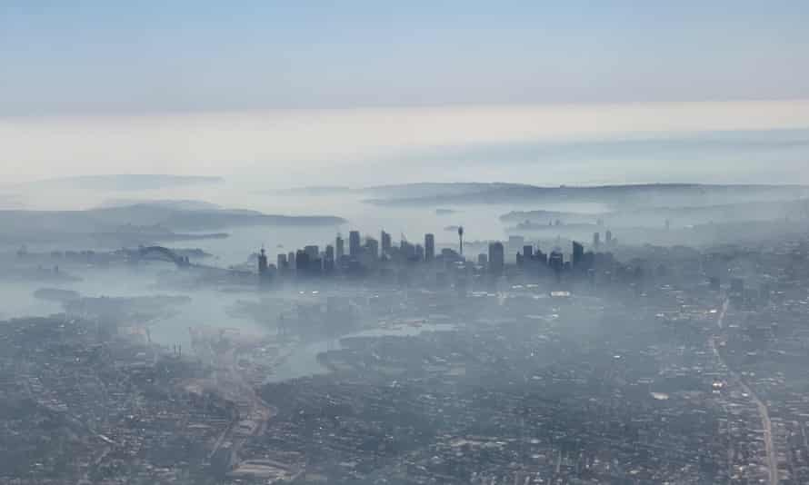 Smoke haze blanketing Sydney