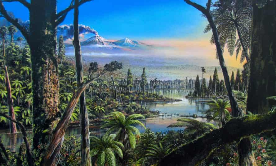 An artist's impression of Antarctica as a swampy rainforest