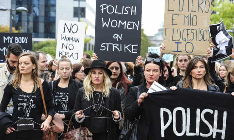 A 'Black Monday' protest in Brussels in October 2016 against a proposed ban on abortions in Poland