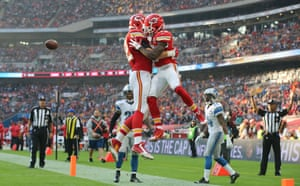 Wembley hosts a number of sports besides football, including NFL, with Kansas City Chiefs here celebrating a touchdown against Detroit Lions there.