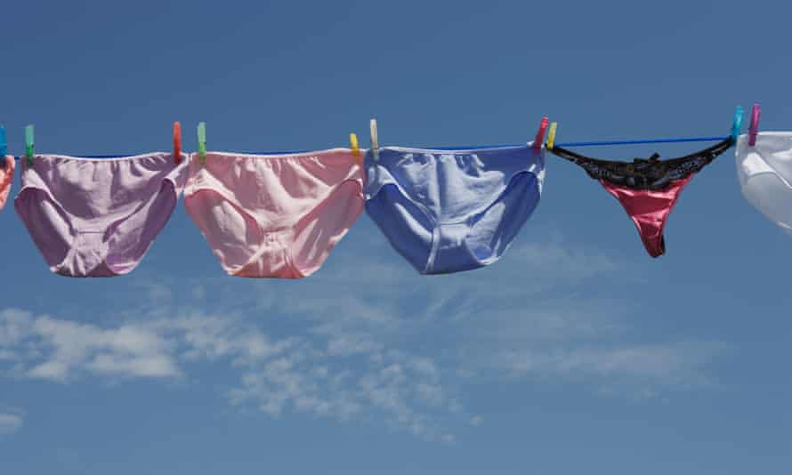 Underwear pegged on washing line
