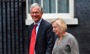 Royal Mail outgoing CEO Moya Greene (right) arrives at Downing Street for the meeting.