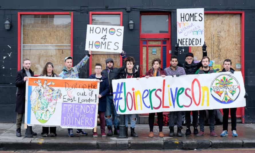 Protesters outside the former Joiner's Arms in 2015 campaign against the closure of LGBT bars in London.