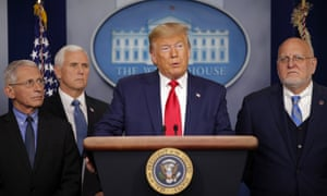 President Donald Trump speaks about the coronavirus in the press briefing room at the White House, Saturday 29 February 2020, in Washington, as National Institute for Allergy and Infectious Diseases Director Dr. Anthony Fauci, Vice President Mike Pence and Robert Redfield, director of the Centers for Disease Control and Prevention listen.