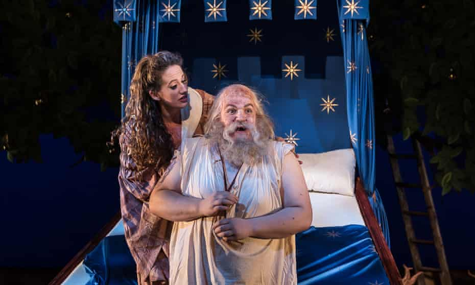 Anna Sideris as May and John Findon as Januarie in The Tale of Januarie at Guildhall School of Music and Drama, London