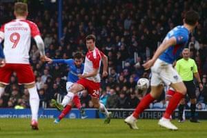 Ben Close puts Portsmouth ahead.