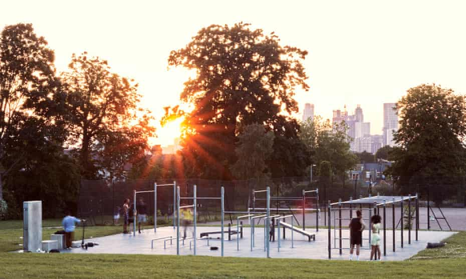 End of the day: the sun sets over the Steel Warriors gym in Ruskin Park, south London.