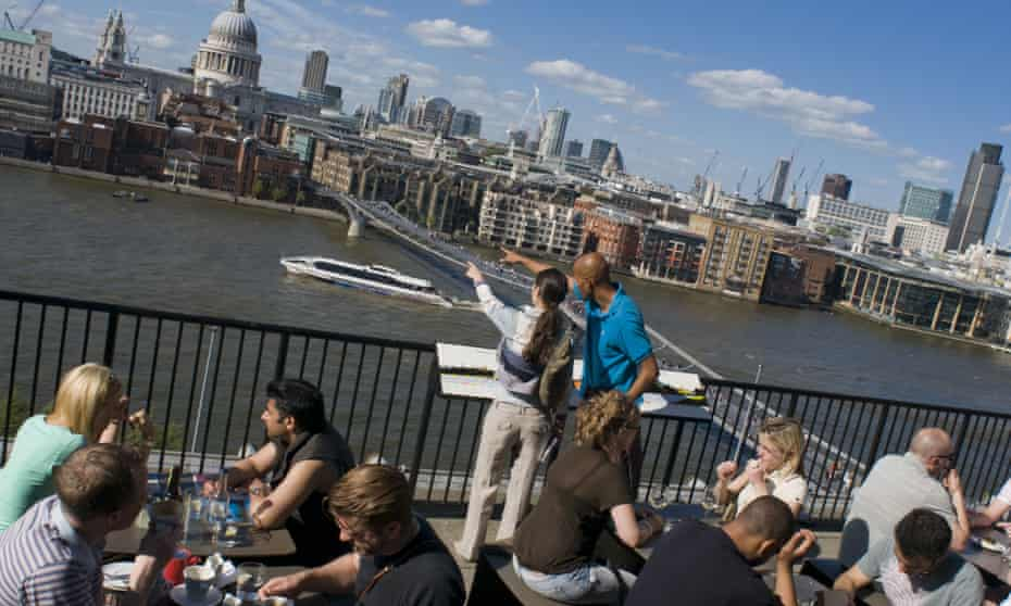 People on a viewing terrace on the Tate Modern, London,