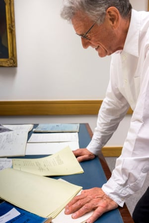 Palin views some of his personal archive, which he has donated to the British Library