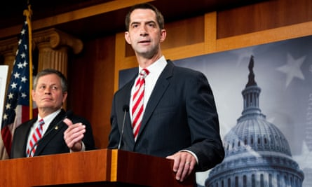 Tom Cotton speaks at a press conference in Washington.
