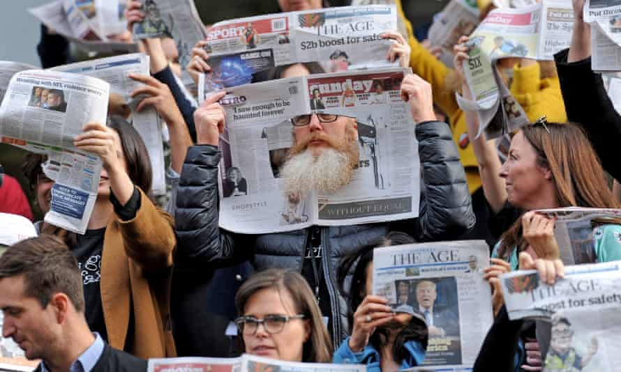 Striking journalists at the Age