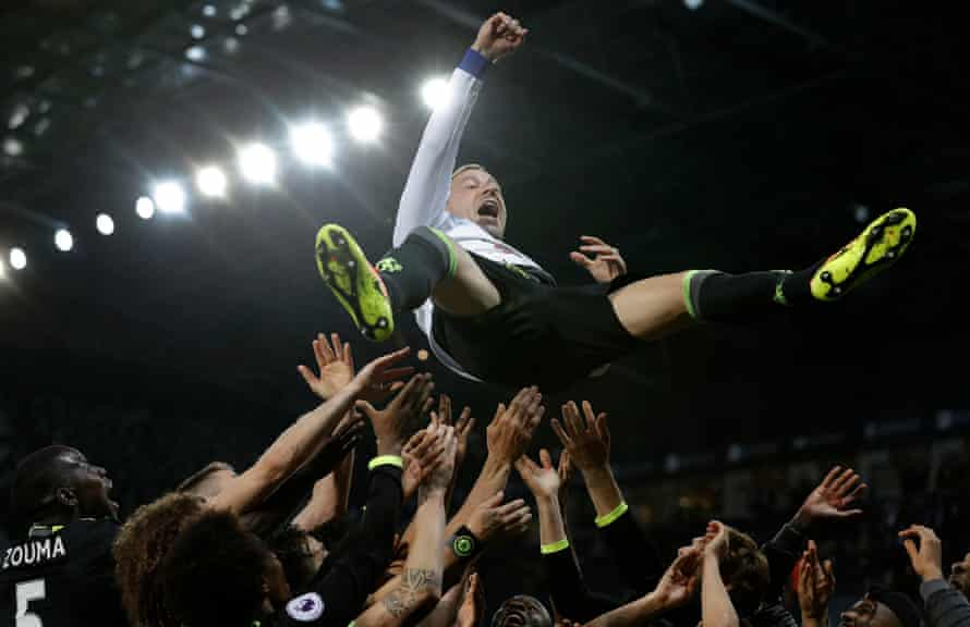 Chelsea captain John Terry is thrown into the air by his teammates after Chelsea won the Premier League title by beating West Bromwich Albion at the Hawthorns.