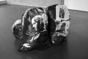 From the series Exiles 03Street photographs printed onto plastic bin bags representing humanity lost in an urban existence