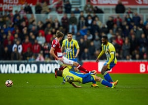 A crunching early tackle as Accrington's Séamus Conneely clatters into Boro's Patrick Bamford.