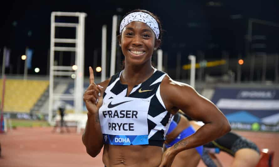 Shelly-Ann Fraser-Pryce celebrates after winning the 100m at a Diamond League meeting in Doha in May