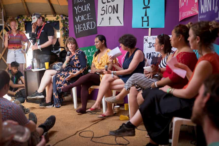 Phillips with Kaveri Mayra, Betsy McCallon, Rev Kate, Diana Flores and Mary Brandon as part of a panel talk at Glastonbury festival in 2019.