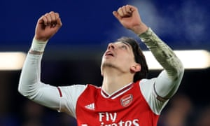Hector Bellerin celebrates scoring the Arsenal equaliser.
