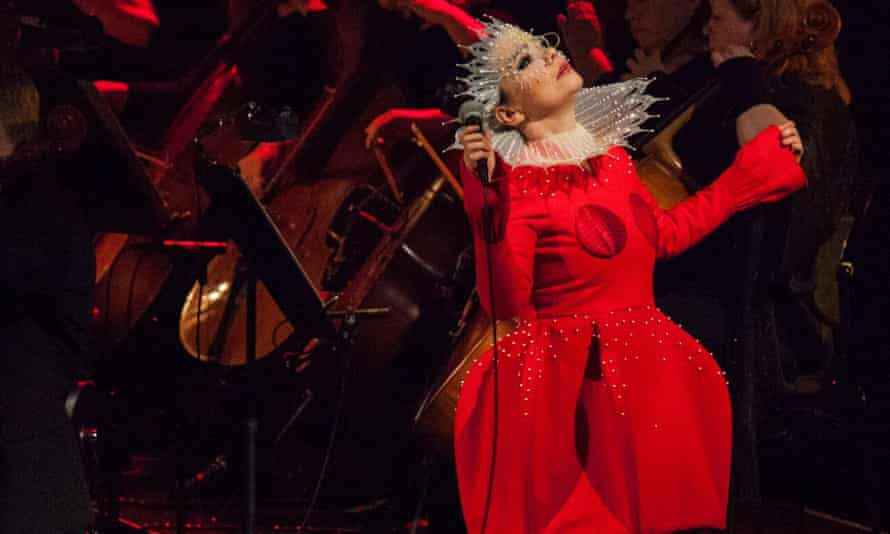 Björk… Feeling blue, dressed in red