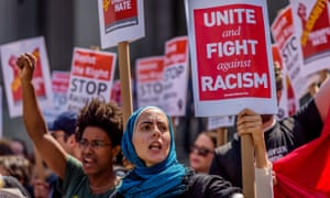 Muslims, anti-Trump and anti-racist activists protest in June 2017 in New York City. Conspiracy theories targeting Muslims have increasingly entered the political mainstream.