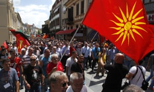 People protest against the deal in the southern Macedonian town of Bitola on Sunday.