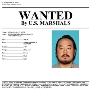 A wanted poster for Adrian Hong released by the US Department of Justice.