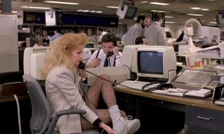 Melanie Griffiths as Tess McGill changing out of her commuter shoes in Working Girl.