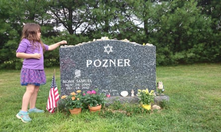 Arielle Pozner, Noah's sister, at Noah's grave.