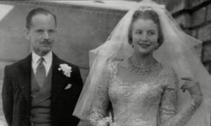 Anne Glenconner leaves church with husband Colin Tennant in April 1956