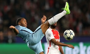 Manchester City's Raheem Sterling attempts to control the ball.