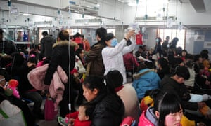 Chinese children with air pollution health problems
