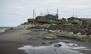 The village of Shishmaref is threatened due to rising temperatures. These cause a reduction in sea ice which allows higher storm surges to reach the shore while thawing permafrost makes the shoreline more vulnerable to erosion.
