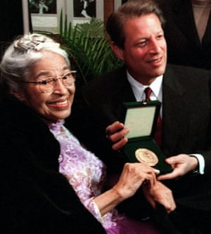 With vice-president Al Gore in 1999, after he presented her with the Congressional Gold Medal of Honor.<br>
