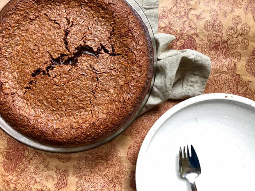 Dark chocolate coconut rough impossible pie – unsliced