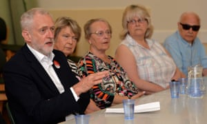 Corbyn speaks to a group of pensioners at Age UK in Lincoln, during a General Election campaign event in Lincoln.