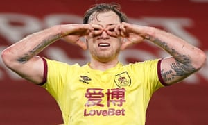 Burnley's Ashley Barnes celebrates scoring his side's first goal.