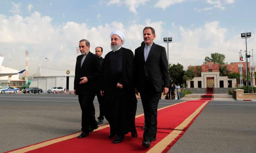 The Iranian president, Hassan Rouhani (centre), with and vice-president Eshaq Jahangiri (right) and Ali Akbar Velayati shortly before leaving Tehran for last year's general assembly.
