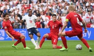 England's Raheem Sterling shoots at goal.